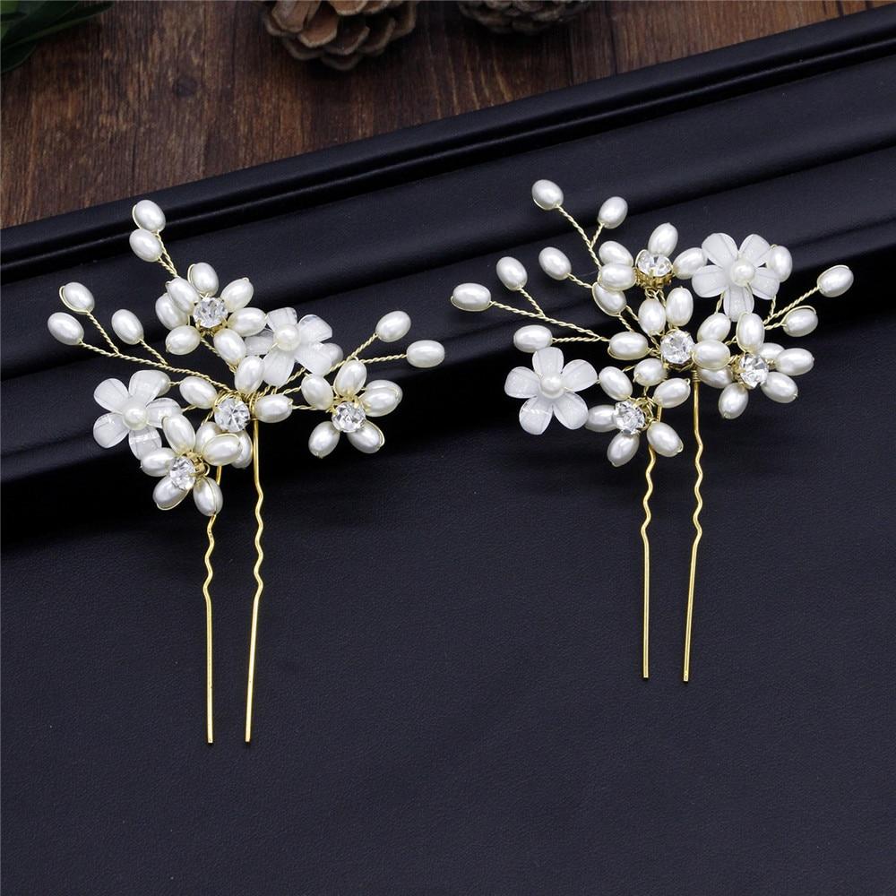 Prom  Wedding Crystal Bridal Clips Pearl Hair Pin  Hairpins Bridesmaid Tiara