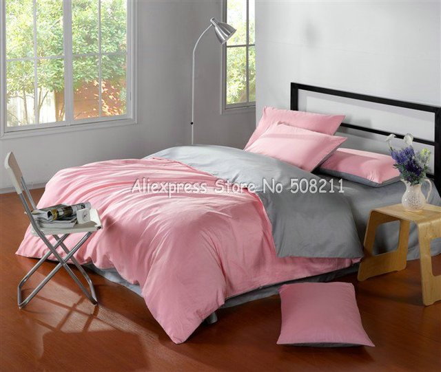 Satin Drill 100% Good cotton twill duvet quilt covers Pink Gray Bi-color solid pattern King bedding sets 4pcs with flat sheets