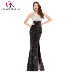 Mermaid evening dress grace karin sparkle black evening gowns double v neck long sequin special occasion.jpg 250x250