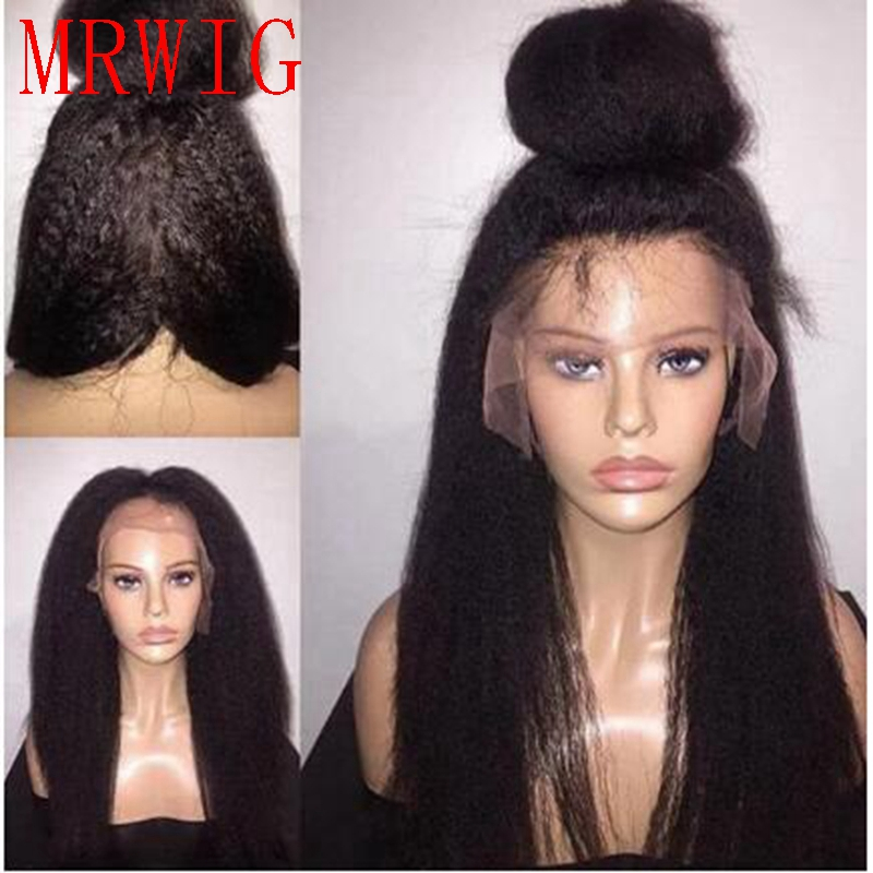 MRWIG dark brown/black kinky straight synthetic front lace wig free part long hair glueless wig for lady woman