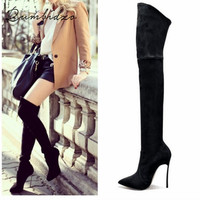 2016 Autumn Winter Women Boots Stretch Faux Suede Slim Thigh High Boots Fashion Sexy Over The