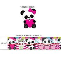 printed cartoon panda grosgrain ribbon and resin sets 7/8inch 50yard ribbon and 50pcs resin 1sets REB273