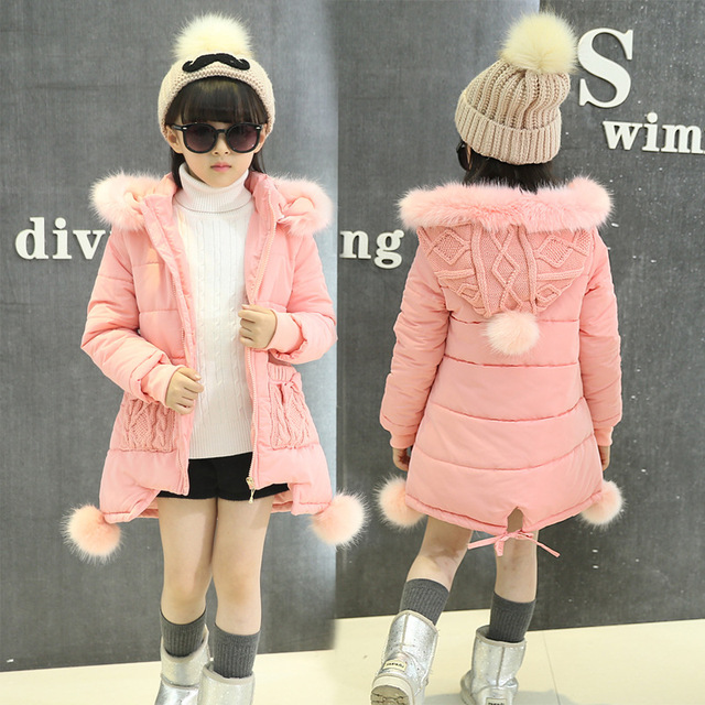 OLEKID 2016 New 5-14 Years Children Winter Outerwear Coat Hooded Thick Warm Long Jacket For Girl Brand Teenage Girl Parka