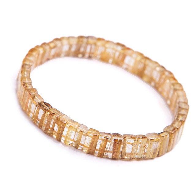 Genuine Natural Unique Brazil Golden Rutilated Quartz Crystal Rectangle Beads Fashion Power Stretch Charm Bracelet