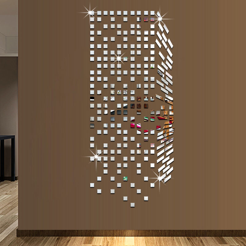 Diy square mosaic pattern mirror wall stickers 3d wall for Decoration autocollant mural