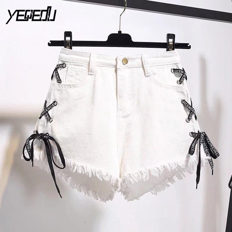 #6514 Summer Denim Shorts Women Plus Size 5XL 6XL Side Bandage Black/White Shorts Feminino Sexy High Waist Casual Short Jeans