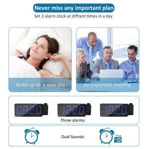 Image 4 - FM radyo çalar saat ile zaman projeksiyon sıcaklık elektronik masa saati başucu masa projektör izle nixie dijital saat