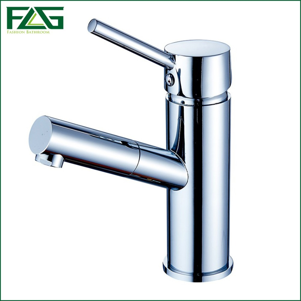 ФОТО FLG Contemporary Basin Faucet Chrome Cast 360 Degree Swivel Deck Mounted Cold & Hot Table Faucet Grifos Mixer Tap Bathroom M207