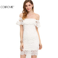 COLROVE Summer Style Sexy Women Mini Dresses White Off The Shoulder Short Sleeve Strapless Lace Ruffle
