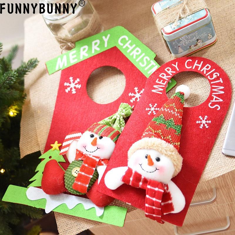 FUNNYBUNNY Christmas ornament, non-woven Santa Claus snowman house, door handle, decorative pendant