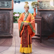 Chinese national hanfu black ancient china costume men clothing Traditional National Tang Suit stage Cosplay Costumes