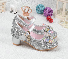 2018 New Kids Girls Leather Bowtie Party Children Princess Sandals Wedding Shoes High Heels
