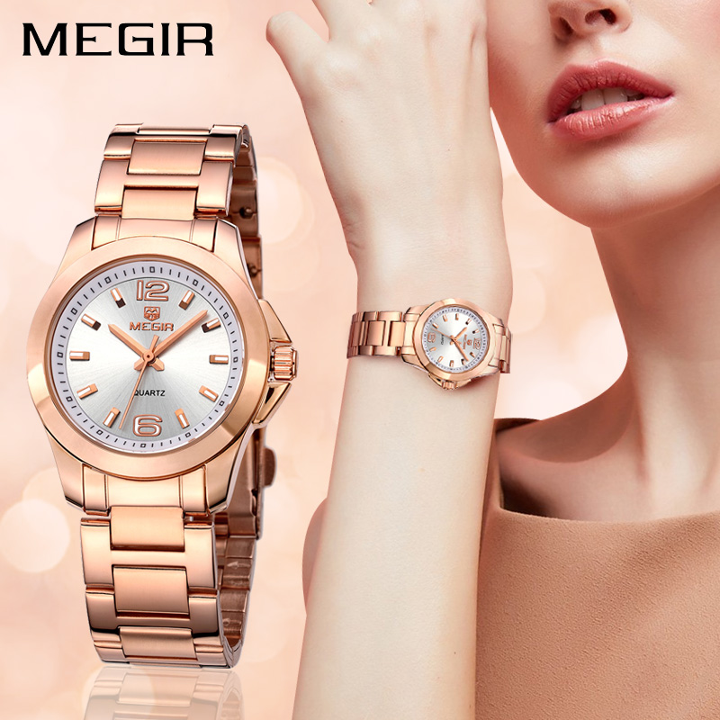 MEGIR Clock Women Watches Femme Brand Luxury Quartz Lovers Relogio 5006 Montre Feminino title=