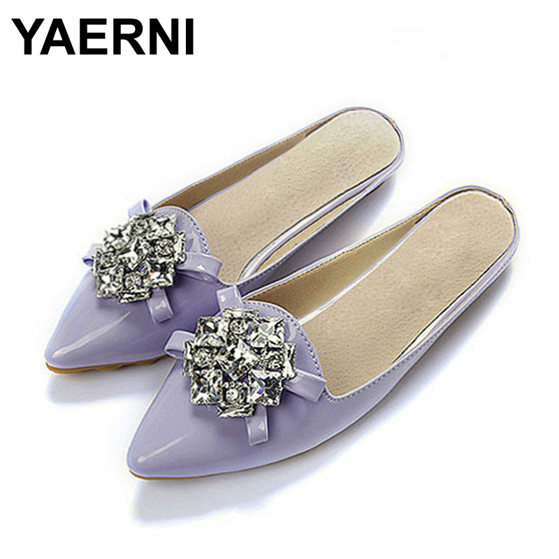YAERNI Patent Leather Slippers Point