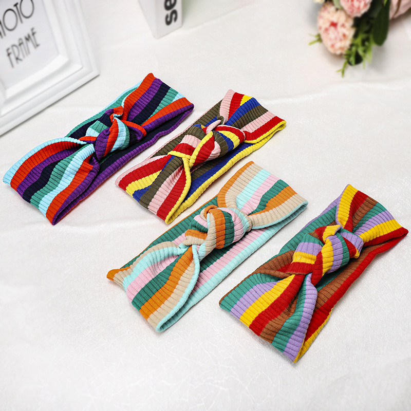 Hair Accessories Multicolors Wide Side Headband For Women Girls Striped Cross Knot Rainbow Hairband Elastic Hair Band Turban in Women 39 s Hair Accessories from Apparel Accessories