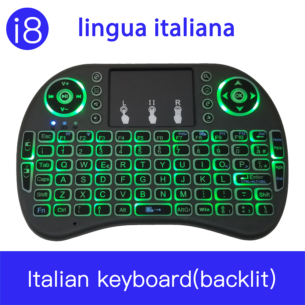 Italian Portable Keyboard 2.4G Mini Keyboard Handheld High Sensitive Smart Touchpad Keyboard Air Mouse For Android Smart TV