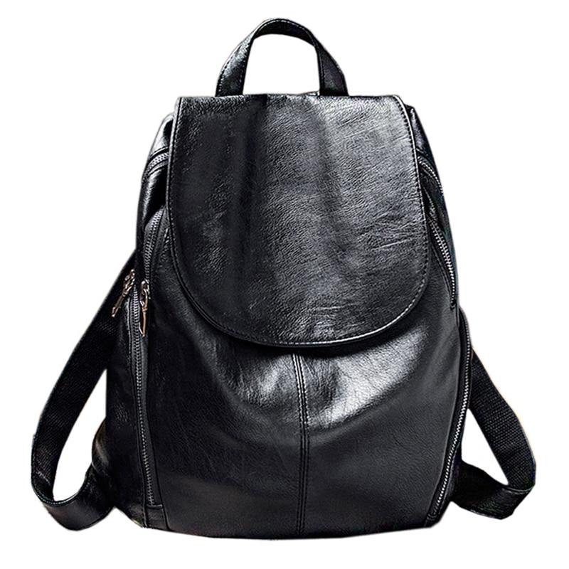 Women Backpack Genuine Leather School Backpacks For Teenage Girls Black Soft Casual Travel Bolsas Feminima Mochila Women Bags
