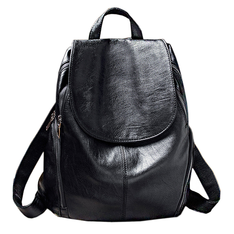 Women Backpack Genuine Leather School Backpacks For Teenage Girls Black Soft Casual Travel Bolsas Feminima Mochila Women Bags