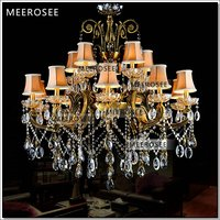 HOT! Big crystal chandelier light fixture antique brass Large suspension lustres chandelier lamp with lampshade MD8504 L15