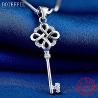 925 Silver Key Necklace Women Luxury Charm 100 Sterling Silver Pendant Necklace High Quality Zircon Jewelry