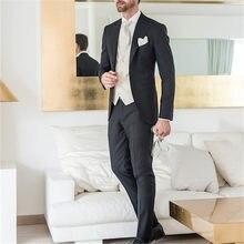 6f8a0e66947 Barato negro Terno Masculino trajes de trajes para hombre traje de boda de corte  Slim americana de 2017 3 piezas traje de los ho.