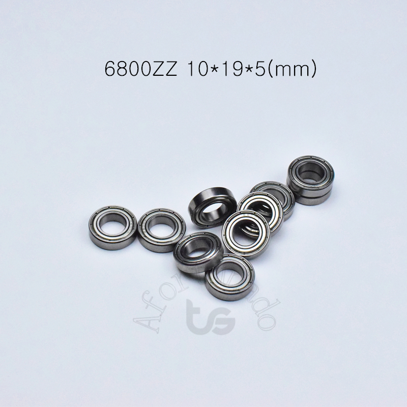 6800ZZ 10*19*5(mm) 10pieces free shipping bearing ABEC-5 <font><b>6800</b></font> 6800ZZ chrome steel bearing metal sealed bearing 61800 image
