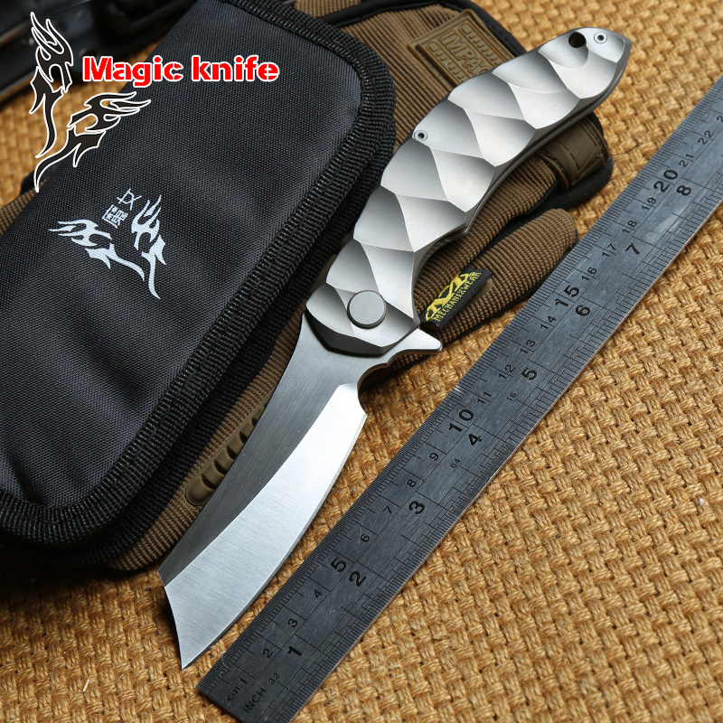 magic chav D2 blade TC4 titanium Flipper Tactical ball bearing folding knife camping hunting outdoor survival knives EDC tools newest titanium folding knife tc4 handle d2 blade tactical survival pocket knife ball bearing flipper outdoor camping knife tool
