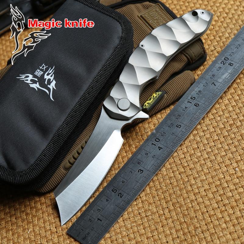 Magic Chav D2 Blade TC4 Titanium Flipper Tactical Ball Bearing Folding Knife Camping Hunting Outdoor Survival Knives EDC Tools