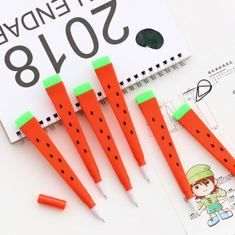 3PCS Creative Cute Watermelon Gel Pen 0.5mm Black Writing Signature Pen School Office Supply Student Kawaii Stationery Tool