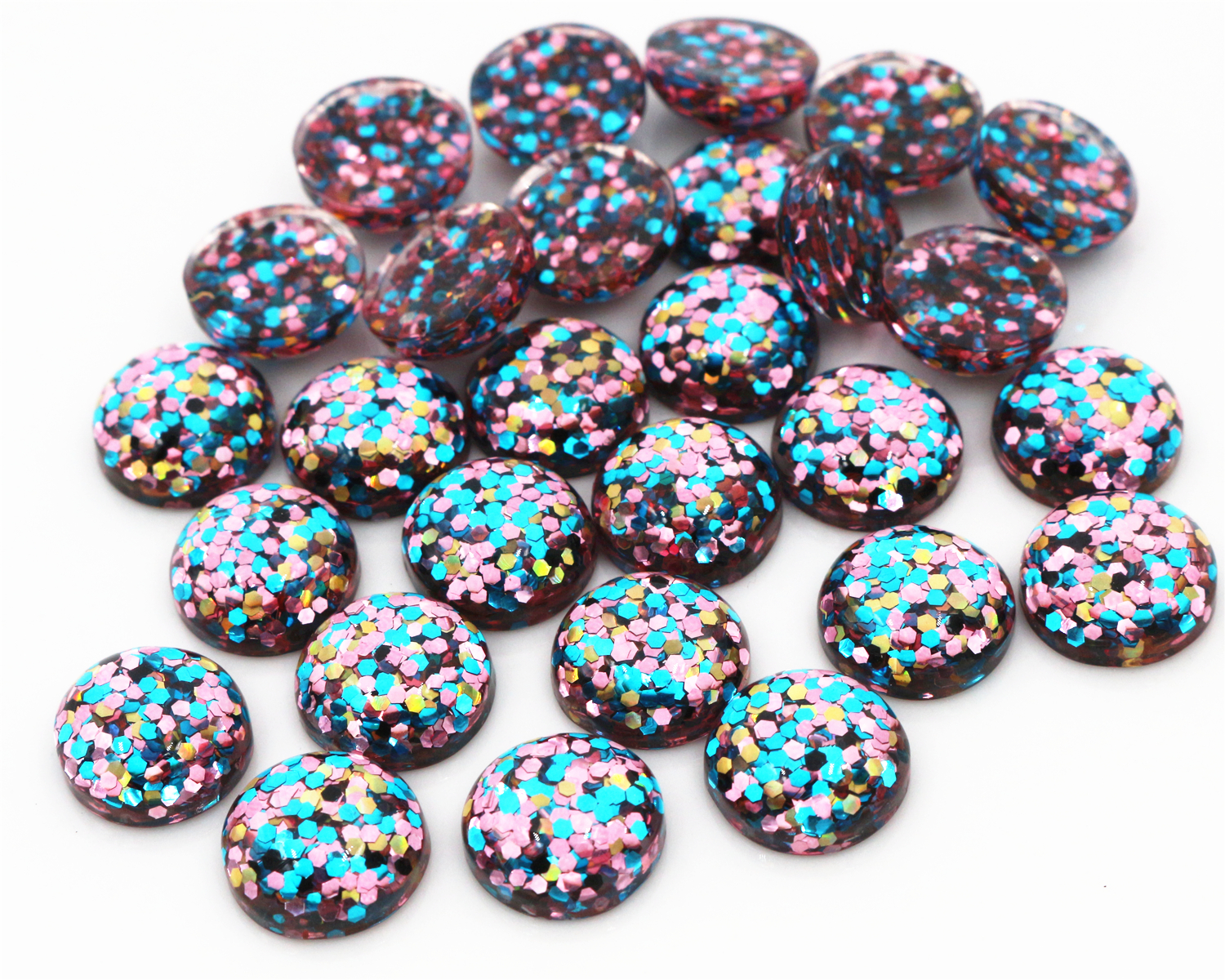 40pcs 12mm New Fashion Blue And Pink And Gold Mix Color Flat Back Resin Cabochons Cameo  G4-29