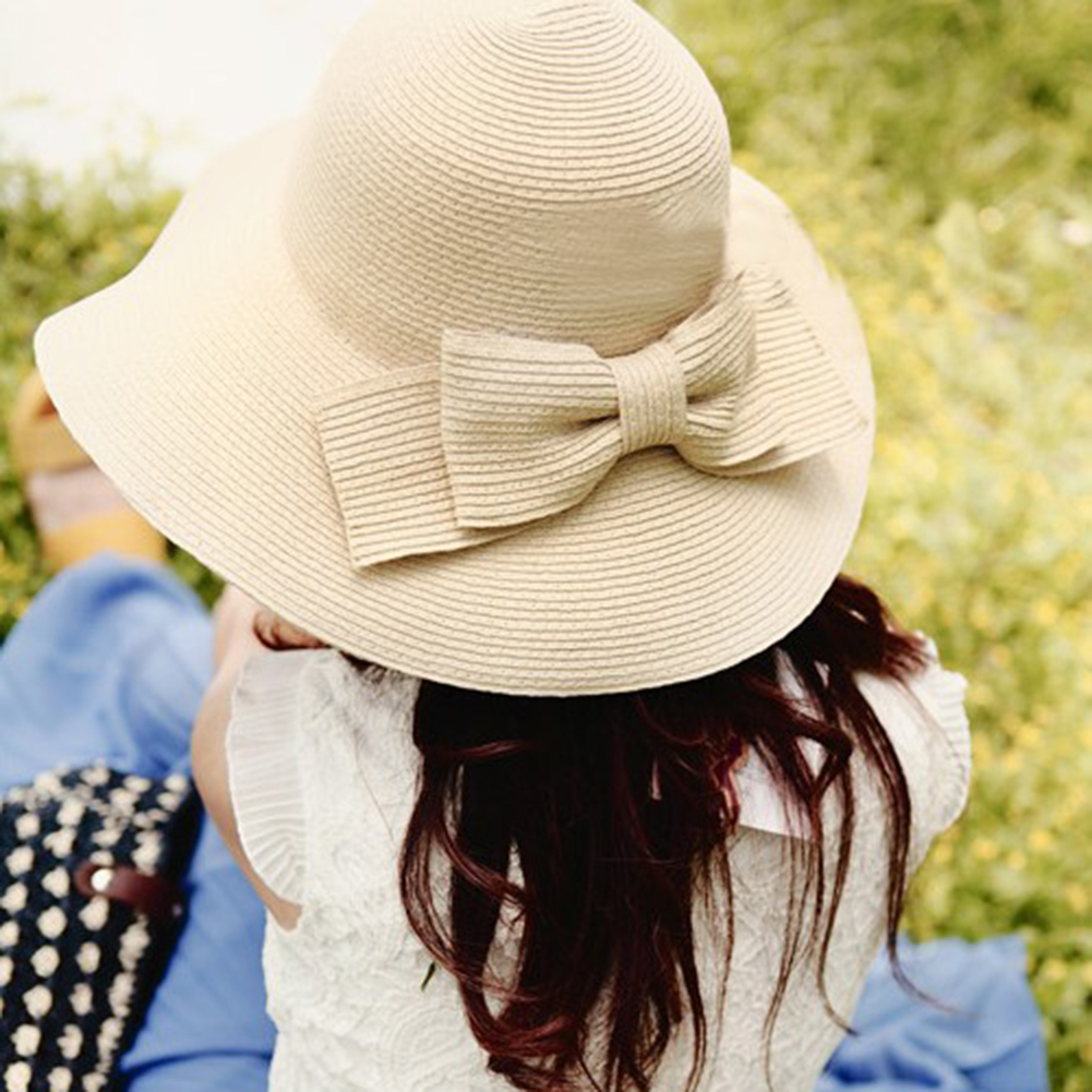 New Fashion Summer Large Brim Straw Sun Hat Solid Color Floppy Cap Wide Brim Summer Beach Women Bow Straw Sun Hat in Women 39 s Sun Hats from Apparel Accessories
