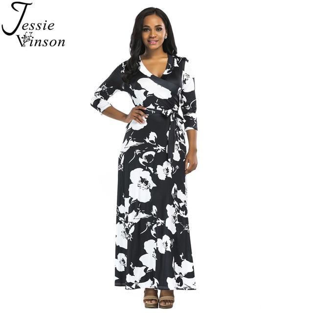 e8c03e998 Jessie Vinson Fashion Women Three Quarter Sleeve Deep V-neck Black White  Print Big Swing Maxi Dress Plunge Long dress 5 Colors