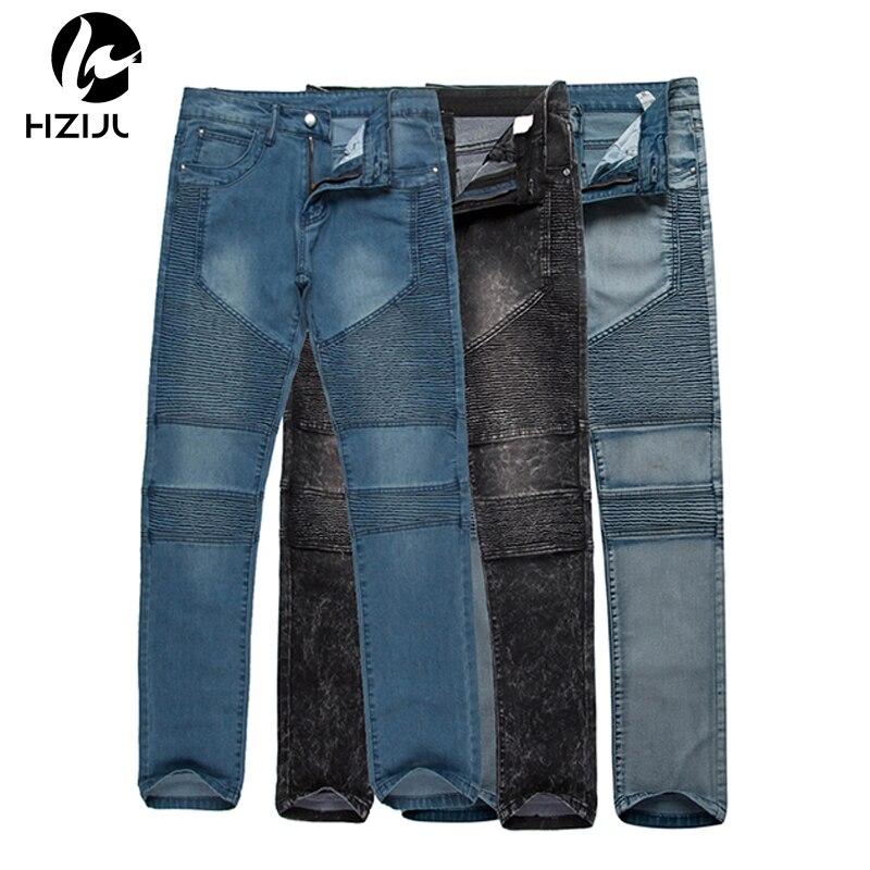 68672301fa1b HZIJUE Modedesigner Männer Dünne Biker Jeans Jogger Faltete Hop Swag Moto  Schwarz Grau Blau Denim slim fit Hosen Für Mann in HZIJUE Modedesigner  Männer ...