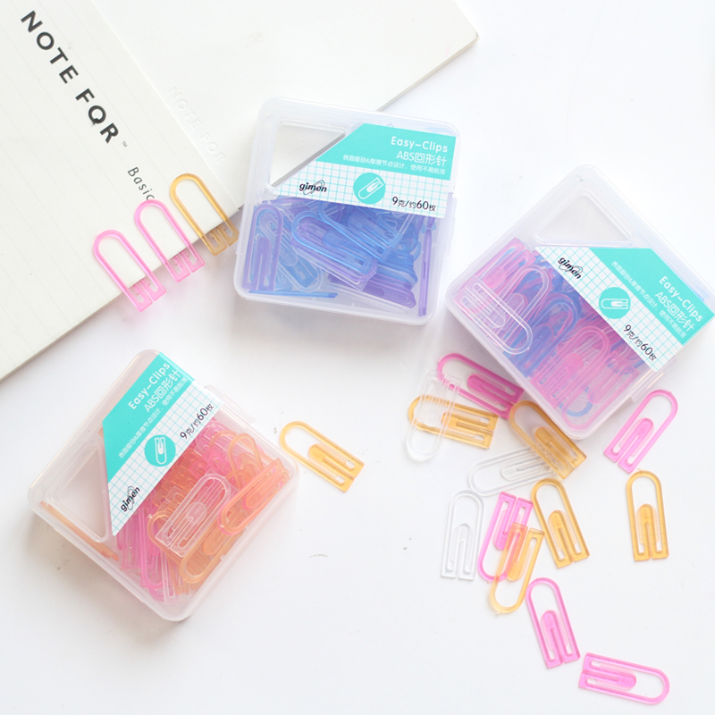 4 Set/Lot Color Paper Clips Total 240 Pcs Plastic Clip For File Index Book Bookmarks Office Accessories School Supplies 6480