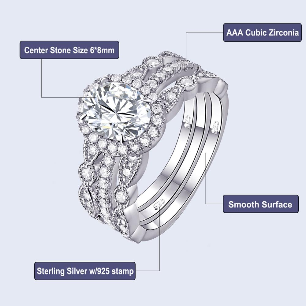 1.8 Ct Oval Shape AAA CZ 925 Sterling Silver 3 Pcs Engagement Ring Set