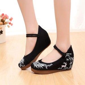 Image 3 - Veowalk נשים מקרית בד רקום נסתרת פלטפורמת נעלי רטרו קרסול רצועת נוחות סיני רקמת שטוח נעלי לאישה