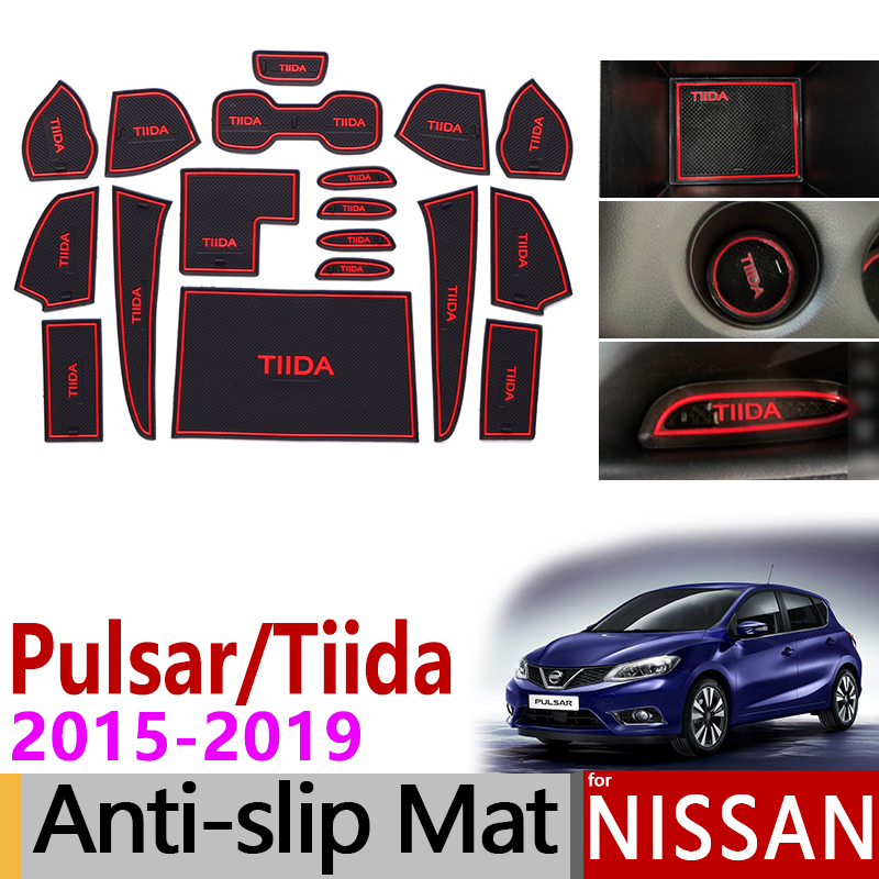 Anti-Slip Gate Slot Mat Rubber Cup Mat For Nissan Tiida Pulsar C13 2015 2016 2017 2018 2019 Accessories Stickers Non-Silp Pad