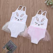 Купальный костюм для маленьких девочек; детский купальник-бикини с вышивкой и рисунком для маленьких девочек; купальный костюм с кроликом на подтяжках; сетчатый Купальник; A1