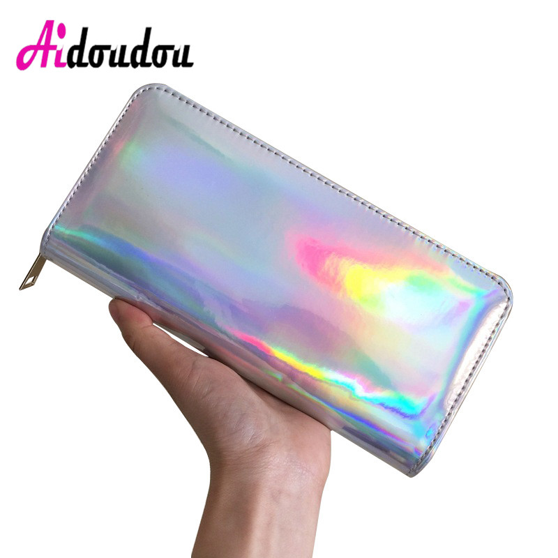 Hologram Silver Zipper Clutch Wallet Women Long Wallets Money Purse Female Slim Wallet Organizer Card Holder Phone Coin Purse large capacity women wallet leather card coin holder money clip long clutch phone wristlet trifold zipper cash female purse