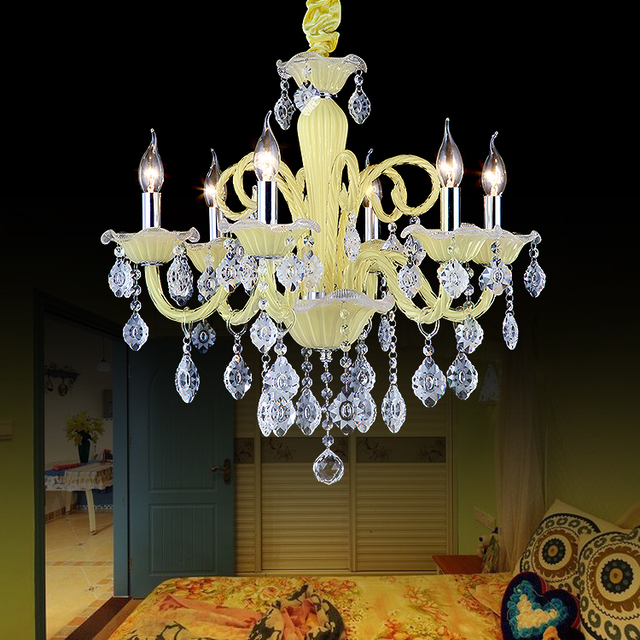 Hengsheng Lighting Small Fresh Pale Yellow Crystal Chandelier Candle Light Warm Living Room Bedroom