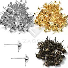 100Pcs 13x5x5mm Ear Stud Components Iron Earring Findings For Jewelry Making DIY Crafts Wholesale cheap Zagos Metal 0 5cm 1 3cm EFSET10 Jewelry Findings