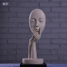 BUF Modern Home Decoration Fashion Abstract Mask Ornament Statue Handmade Sandstone Craft Art Collection Gift Sculpture