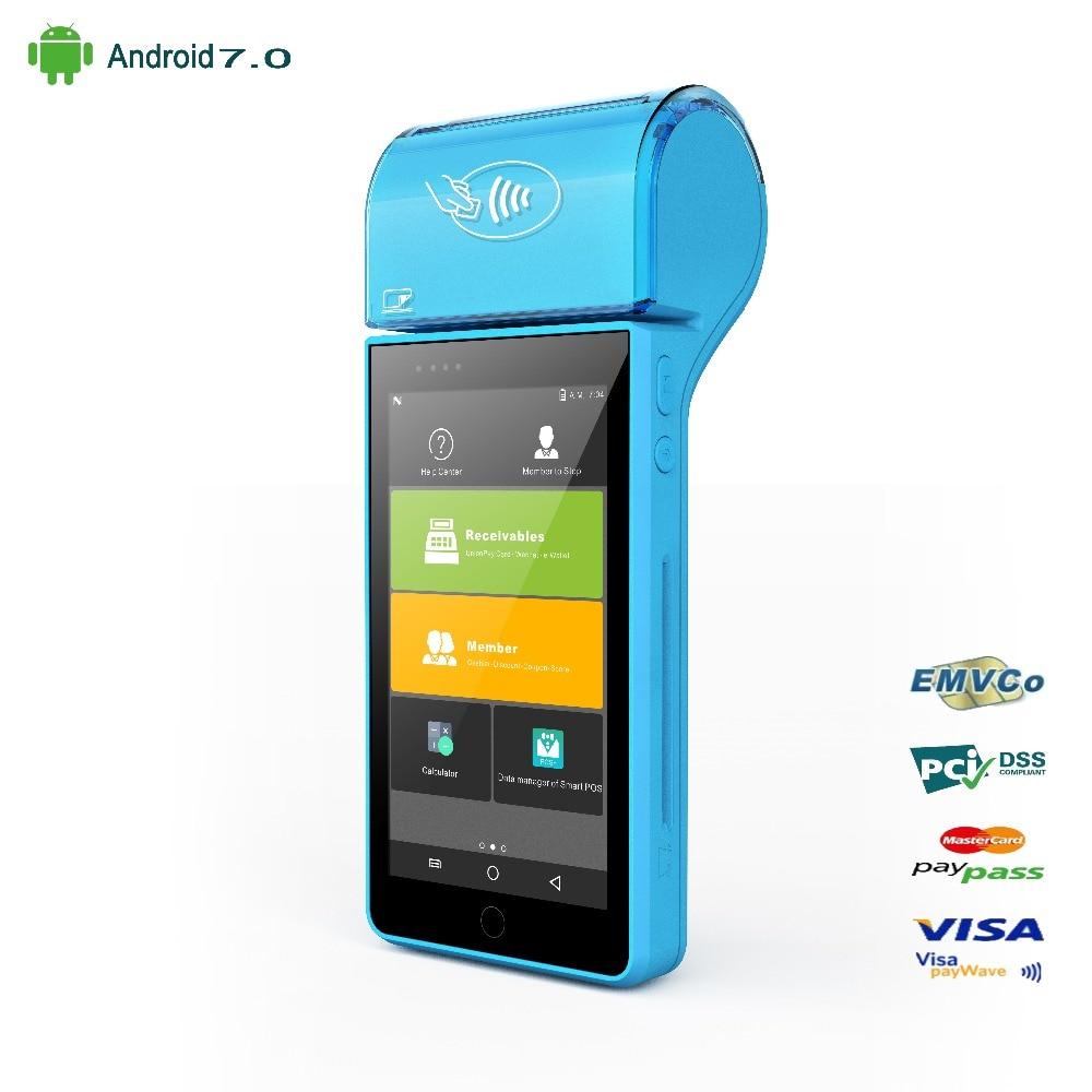 Terminale di pagamento POS Stampante Palmare IC Lettore di Carte Magnetiche NFC Barcode Scanner Android 7.0 Sistema POS 5.0