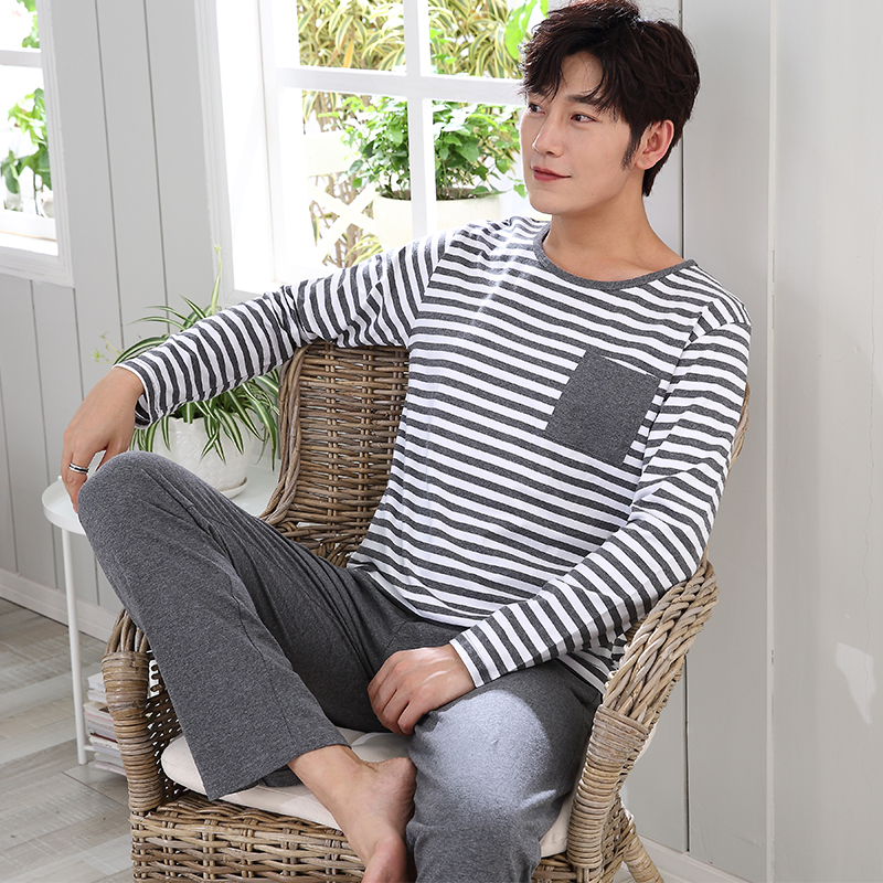 Casual Striped Cotton Pajama Sets For Men 2018 Autumn Winter Long Sleeve O-neck Cartoon Pyjama Male Homewear Lounge Home Clothes