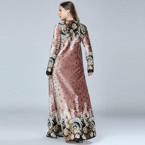 Image 4 - New Winter Velvet Maxi Long Dresses Elegant Gold Stamping Floral Printing Muslim Dress BLUE PINK GREEN M   4XL