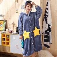 New Luxury Womens Robes Coral Velvet Star Thicken Nightgown Winter Bathrobe Women Pajamas Bath Flannel Warm Robe Sleepwear