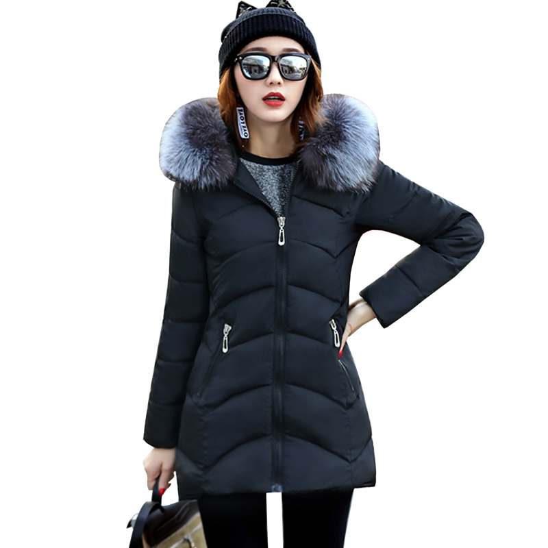 high quality fur collar parka cotton jacket Winter Jacket Women thick Snow Wear Coat Lady Clothing Female Jackets Parkas 5L16 snow wear 2017 high quality winter women jacket cotton coats fur collar hooded parkas fashion long thick femme outwear cm1346