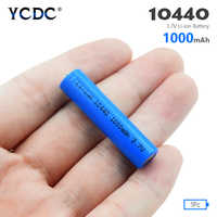 YCDC 1/2/4Pcs 10440 Battery 1000mAh 3.7V Rechargeable Lithium Li-ion AAA Batteries Button Top