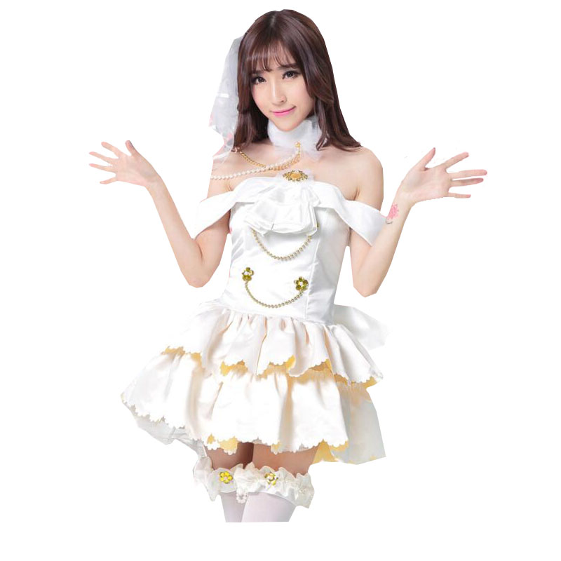 Cute Womens Maki Nishikino Anime Lovelive Wedding Costume Halloween Adult Kawaii Party Cosplay Clothing