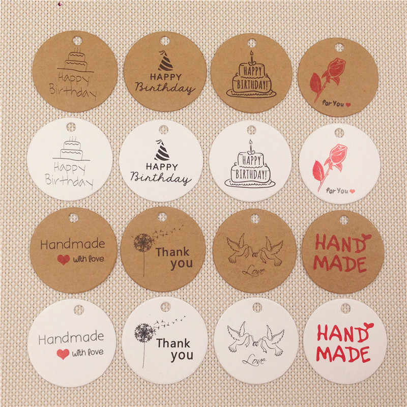 Merry Christmas Thank You Heart Love Hang Tags Round Diameter 3cm Craft Paper Card Hang Tags Labels Multi Pattern 100Pcs/Lot